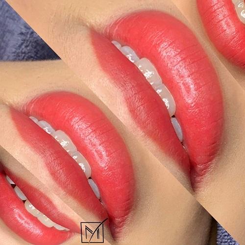 phun môi màu đỏ cam
