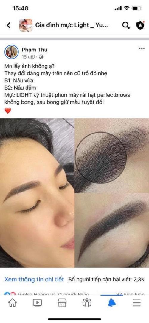 Không cần xử lý quá nhiều bước, chỉ với 1 lần phun là đã mang đến vẻ đẹp hoàn hảo cho cặp lông mày bị trổ trước đó.