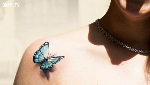 Hoặc lựa chọn thiết kế hình xăm bướm 3D nổi bật.