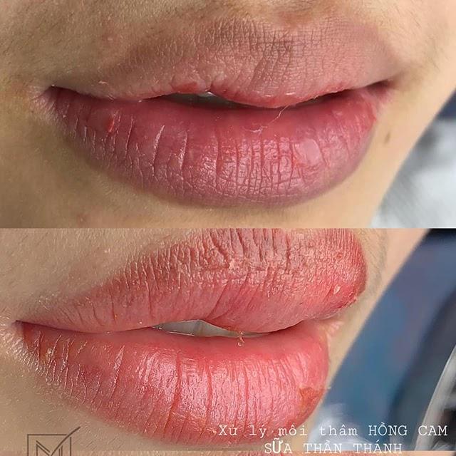 môi thâm nên xăm màu gì